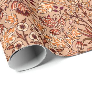 William Morris-Hyazinthen-Druck, Brown und Beige Geschenkpapier