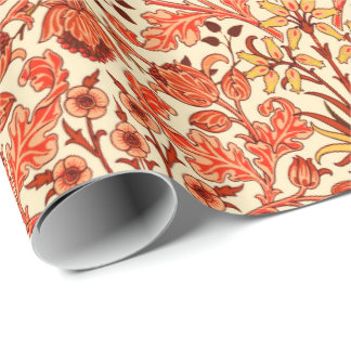 William Morris-Hyazinthen-Druck, Orange und Rost Geschenkpapier