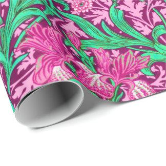 William Morris-Iris, pinkfarbenes Rosa und Wein Geschenkpapier