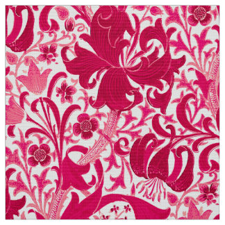 William Morris-Iris und Lilie, Fuchsien-Rosa Stoff