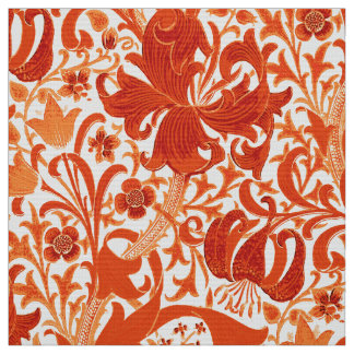 William Morris-Iris und Lilie, Mandarine Stoff