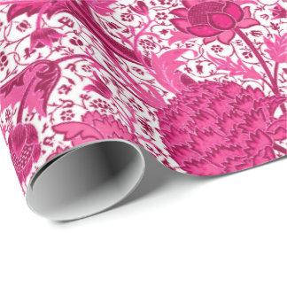 William Morris-Jacobean Blumen, Fuchsien-Rosa Geschenkpapier
