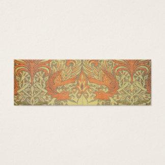 William Morris-Pfau und Drache-Muster Mini Visitenkarte