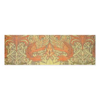 William Morris-Pfau und Drache-Muster Mini-Visitenkarten