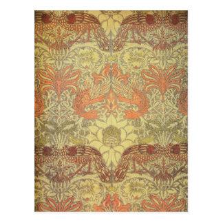 William Morris-Pfau und Drache-Muster Postkarte