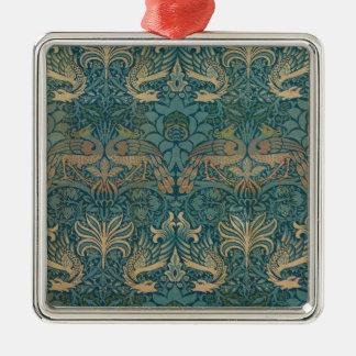 William Morris-Pfau-und Drache-Textilentwurf Silbernes Ornament
