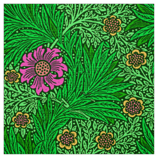 William Morris-Ringelblume, Smaragdgrün u. Fuchsie Stoff