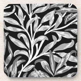 William Morris-Weide-Ast, Schwarzes, Weiß u. Grau Untersetzer