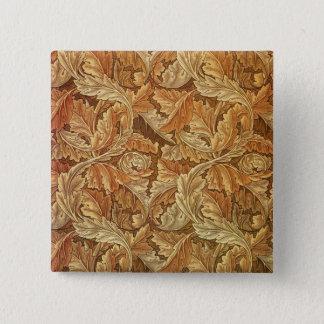 William Morrisacanthus-Brown-Grafik Quadratischer Button 5,1 Cm