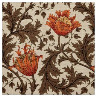 William Morrisanemone, -BEIGE, -brown und -rost Stoff