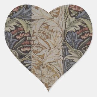 William Morrisbluebell-Gewebe-botanischer Druck Herz-Aufkleber