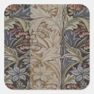 William Morrisbluebell-Gewebe-botanischer Druck Quadratischer Aufkleber