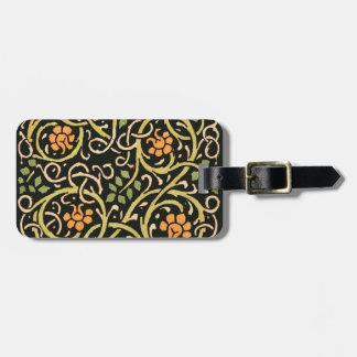 William Morrisschwarzer Blumenkunst-Druck-Entwurf Gepäckanhänger