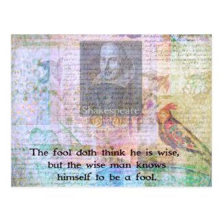 William Shakespeare-Zitat über Klugheit und Postkarte
