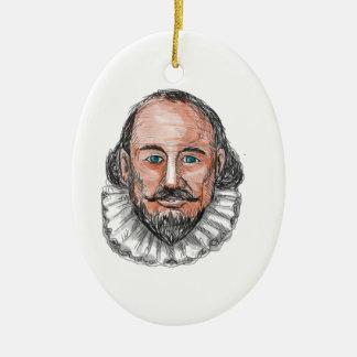 William ShakespearehauptAquarell Ovales Keramik Ornament