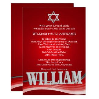 Williamstahlwellen-rotes Bar Mitzvah Karte