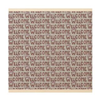 Willkommen beschriftet Muster Holzdruck