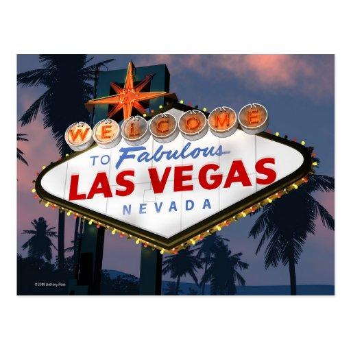 Willkommen Las Vegas-Zeichen-zur Retro Leuchtrekla Postkarte