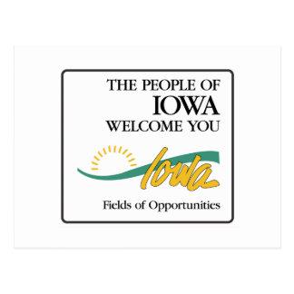 Willkommen nach Iowa - USA Verkehrsschild Postkarte