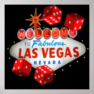 Willkommen nach Las Vegas + Würfel-vektorgraphik Poster