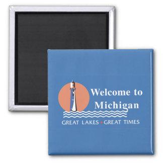 Willkommen nach Michigan - USA Verkehrsschild Quadratischer Magnet