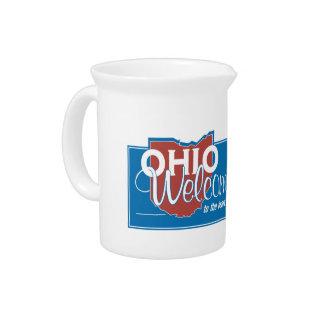 Willkommen nach Ohio - USA Verkehrsschild Getränke Pitcher
