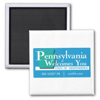 Willkommen nach Pennsylvania - USA Verkehrsschild Quadratischer Magnet