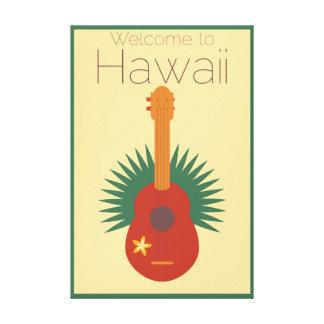 Willkommen zu HawaiiUkulele Retro Leinwanddruck