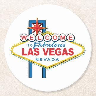Willkommen-zu-Las-Vegas Runder Pappuntersetzer