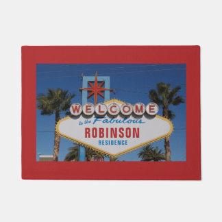 Willkommen zu Las Vegas-Zeichen mit Ihrem Namen Türmatte