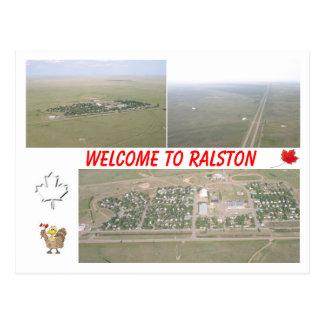 Willkommen zu Ralston, Alberta [Kanada] Postkarte