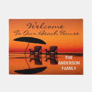 Willkommen zu unserer Strand-Haus-personalisierten Türmatte