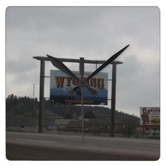 Willkommen zu Wyoming-Uhr Quadratische Wanduhr
