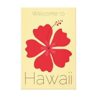 Willkommen zum Hawaii-Rot-Hibiskus Leinwanddruck
