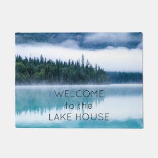 Willkommen zum See-Haus-Reflexions-Natur-Foto Türmatte