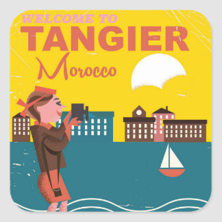 Willkommen zum Vintagen Reiseplakat Tangers Quadrat-Aufkleber