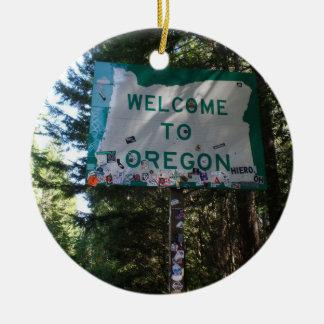 Willkommen zur Oregon-Staats-Zeichen-Verzierung Rundes Keramik Ornament