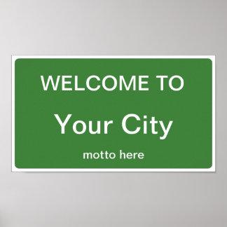 Willkommen zur Stadt-/Staats-Zeichen-Schablone Poster