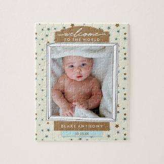 Willkommene Baby-Geburts-Mitteilungs-blaue Sterne Puzzle