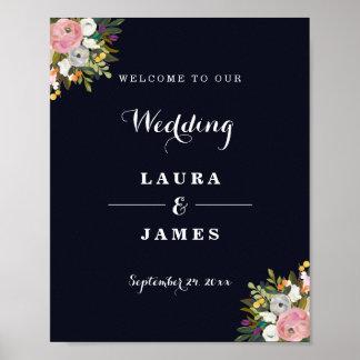 Willkommene Hochzeits-Zeichen-Marine botanisch Poster