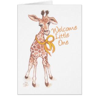 Willkommene kleine niedliche Giraffen-Baby-Dusche Karte