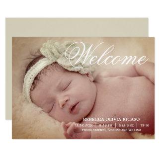 Willkommene Typografie-Rolle-neues Baby 12,7 X 17,8 Cm Einladungskarte