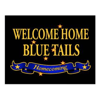 Willkommene Zuhause-Blau-Schwänze Postkarte