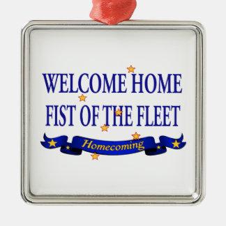 Willkommene Zuhause-Faust der Flotte Quadratisches Silberfarbenes Ornament