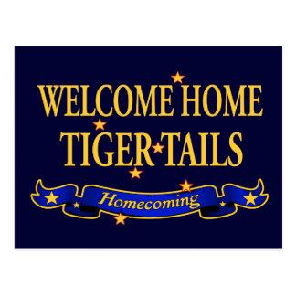 Willkommene Zuhause-Tiger-Schwänze Postkarte