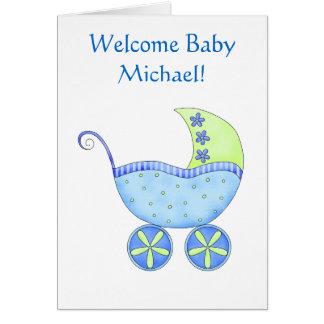 Willkommener Baby-Jungen-Namen-personalisierte Grußkarte