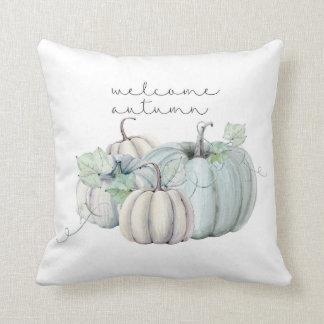 willkommener Herbst - blauer Kürbis Kissen