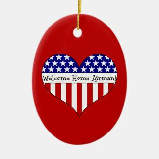Willkommener Zuhause-Flieger! Ovales Keramik Ornament