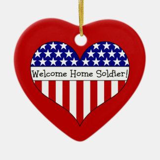 Willkommener Zuhause-Soldat! Keramik Herz-Ornament