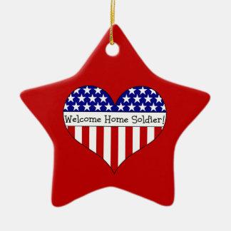 Willkommener Zuhause-Soldat! Keramik Stern-Ornament